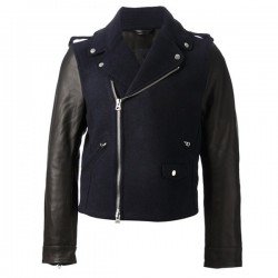 Black And Navy Calf Leather Jacket