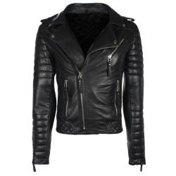 Designer Black Motorcycle Leather Jacket