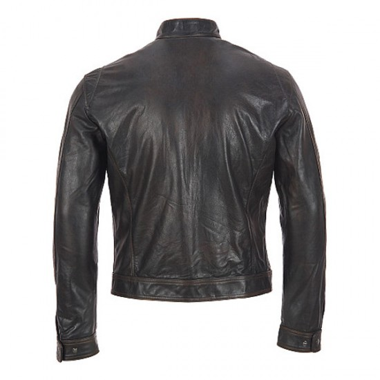 Men Black Motorcycle Leather Jacket