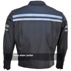Men's Classic Stripe Motorbike Leather Jacket