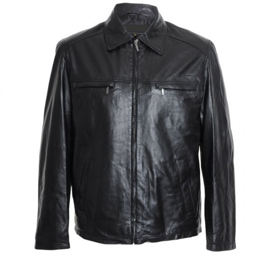 Men's Double Pocket Black Leather Jacket