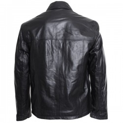 Men's Double Pocket Black Leather Jacket