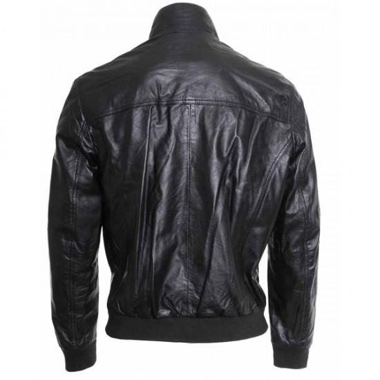 Designer Bomber Black Leather Jacket