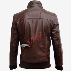 Brown Bomber Slim Fit Men Leather Jacket