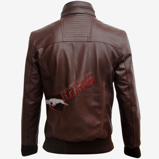 Brown Bomber Slim Fit Men Leather Jacket