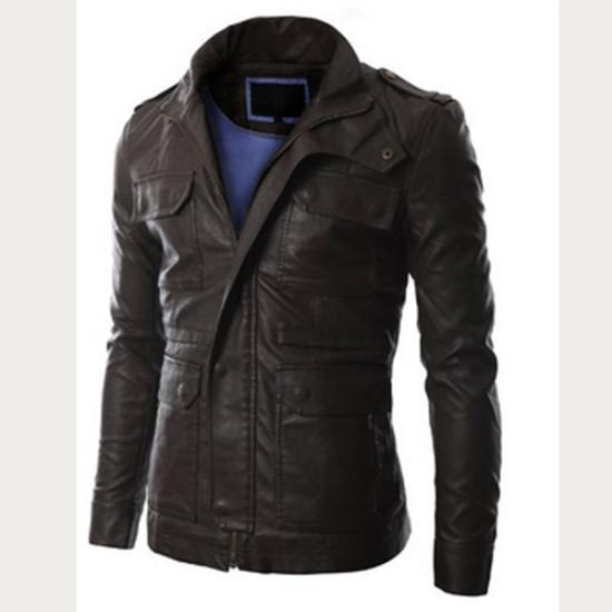 Men Slim Fit Four Pocket Leather Jacket