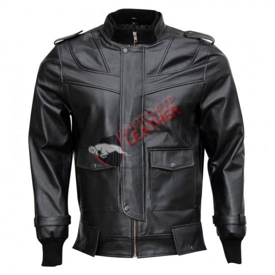 Bomber Black Stylish Leather Jacket