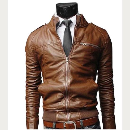 Designer Brown Bomber Slim Fit Leather Jacket