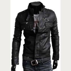 Designer Black Bomber Slim Fit Leather Jacket