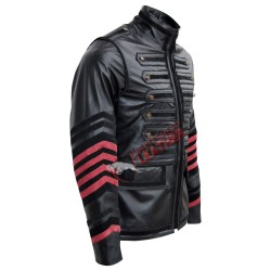 Men's Military Biker Style Leather Jacket