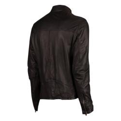 Men Black Biker Style Slim Fit Leather Jacket