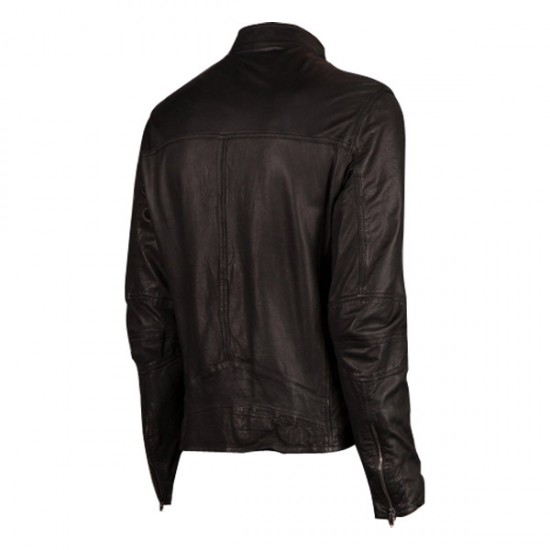 Men Black Biker Style Slim Fit Leather Jacket