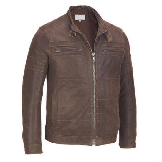 Men's Classic ZIP-UP Brown Leather Jacket