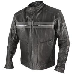 Classic Men Front Double Pocket Leather Jacket