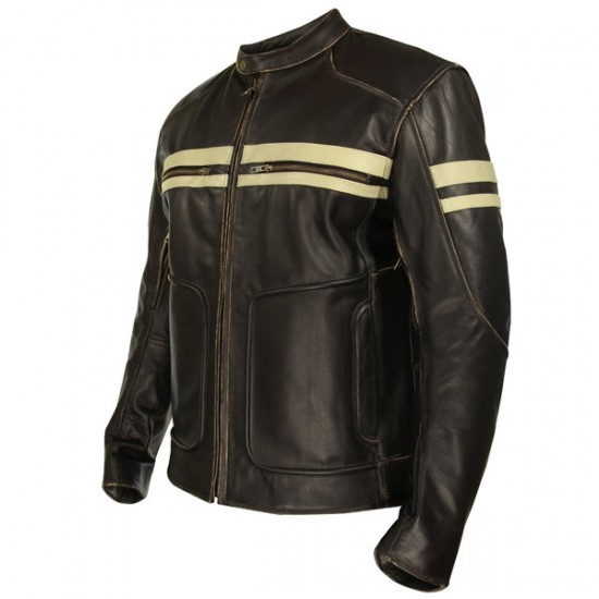 Xelement Men's Brown Leather Cruiser Jacket