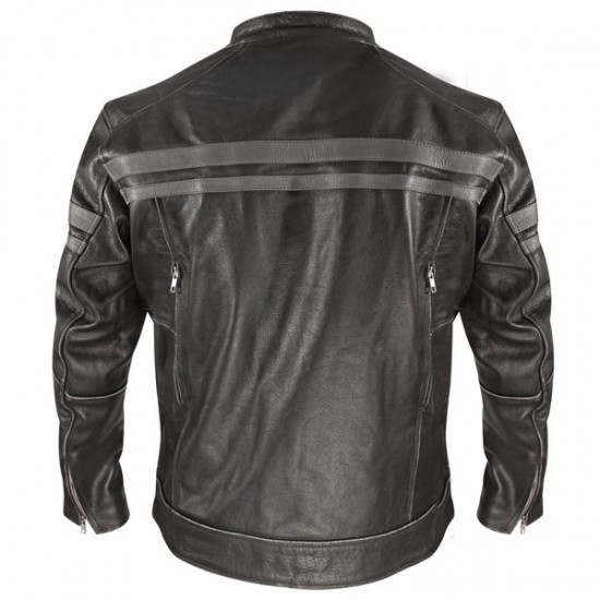 Classic Men Front Double Pocket Leather Jacket