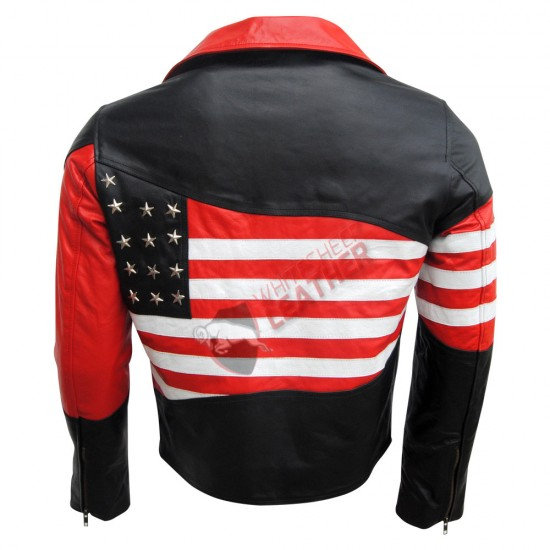 American USA Flag Motorcycle Leather Jacket