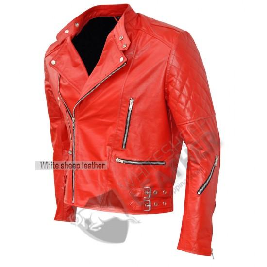 Brando Style Red Biker Leather Jacket