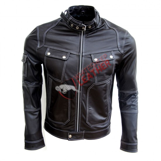 Men's Biker Four Pockets Slim Fit Leather Jacket