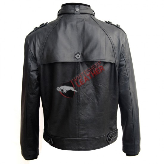Men's Front Button Panel Slim Fit Leather Jacket