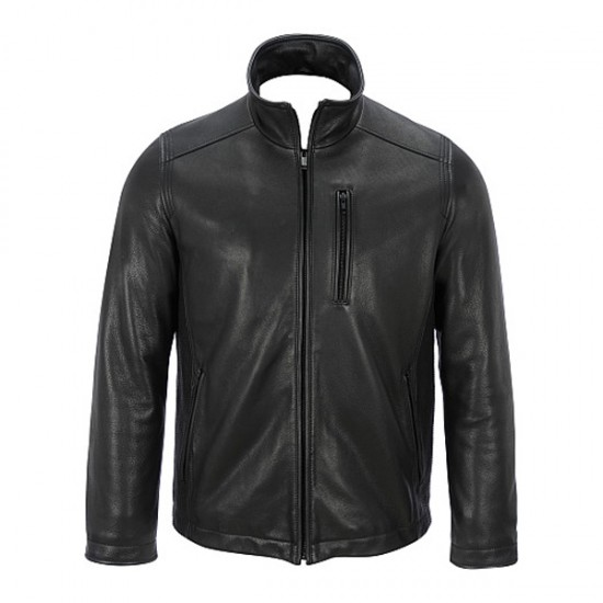 Classic Zip-Up Slim Fit Black Leather Jackets
