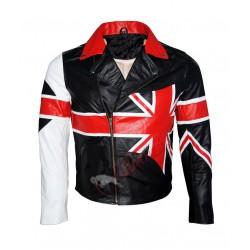 American USA Flag Motorcycle Style Leather Jacket
