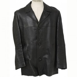 Men Stylish Black Leather Coat