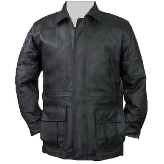 Men Front Double Pocket Black Leather Coat