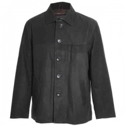 Men's Front Five Button Leather Straight Coat