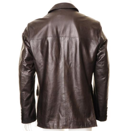 Men's Brown Stylish Leather Blazer