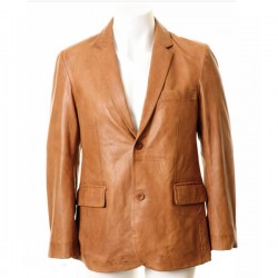 Men Brown Double Pocket Leather Blazer