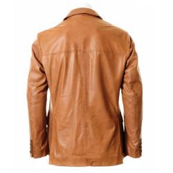 Men Brown Double Pocket Leather Blazer