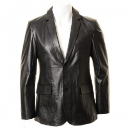 Men's Black Two Button Leather Blazer