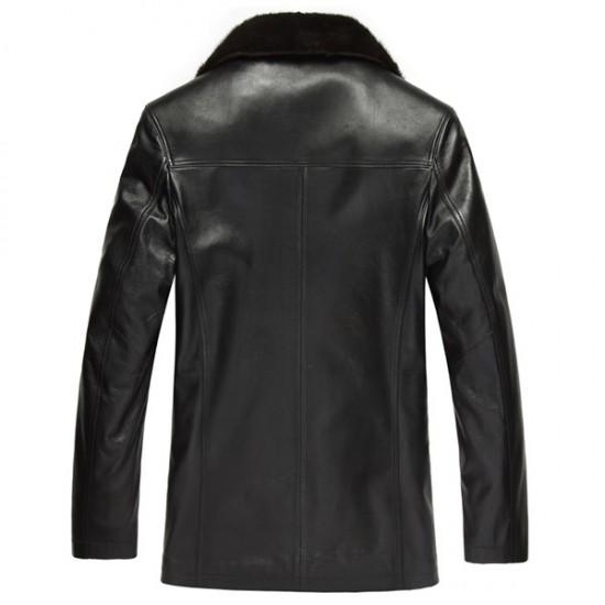 Men Black Fur Collar Leather Jacket