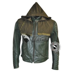 Green Arrow Stephen Amell Leather Jacket Hoodie