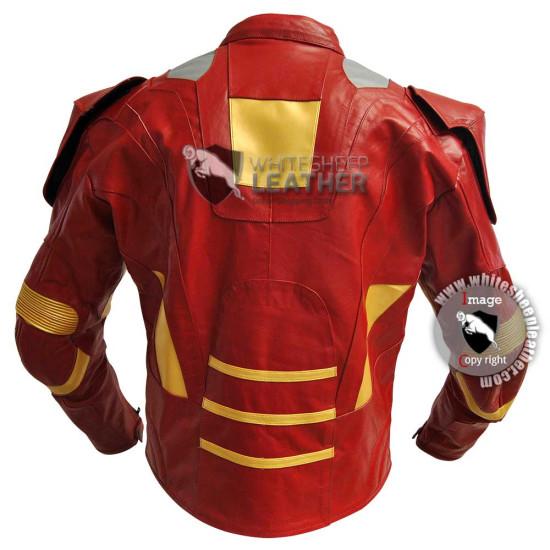 Avengers Iron Man Mark 7 costume leather jacket