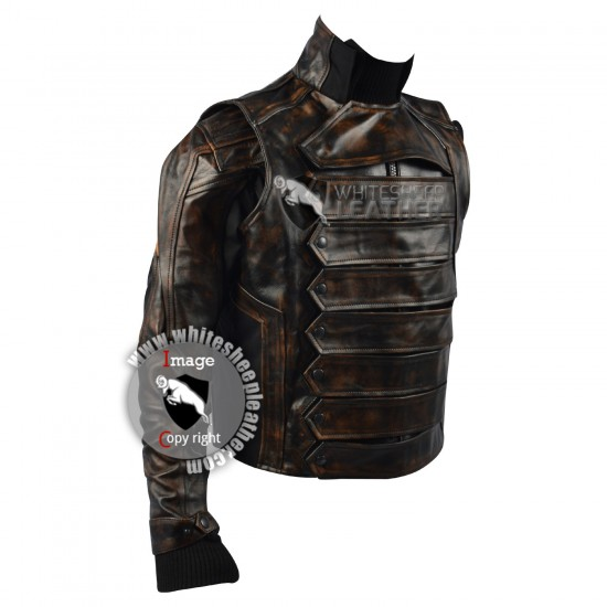 Captain America Winter Soldier : Bucky Barnes premium quality jacket (Weathered )
