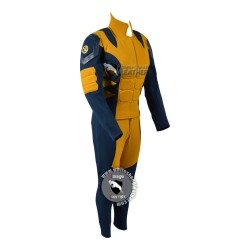 Women Wolverine Blue and Yellow Costume suit (Textured Stretch Fabric )