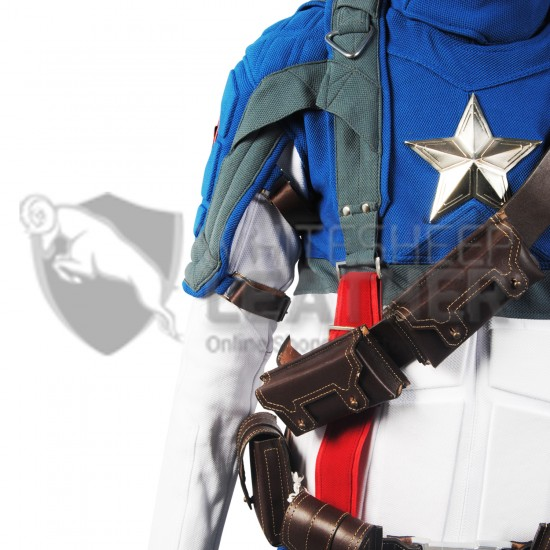 Captain America The First Avenger Chris Evans Costume Suit (Textured Stretch Fabric )