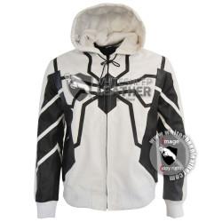 New Men Spiderman leather hoodie