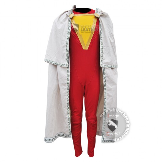 Shazam Movie costume and Cape ( Textured Stretch fabric )
