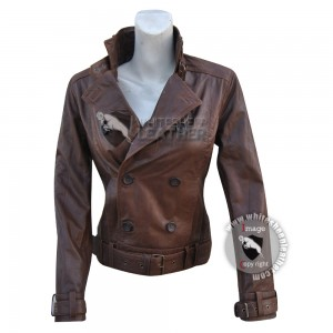 Captain America : The Winter Soldier Scarlett Johansson Black Widow Brown Leather Jacket