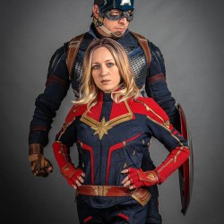 Carol Danvers Captain Marvel costume suit ( Textured Stretch Fabric )