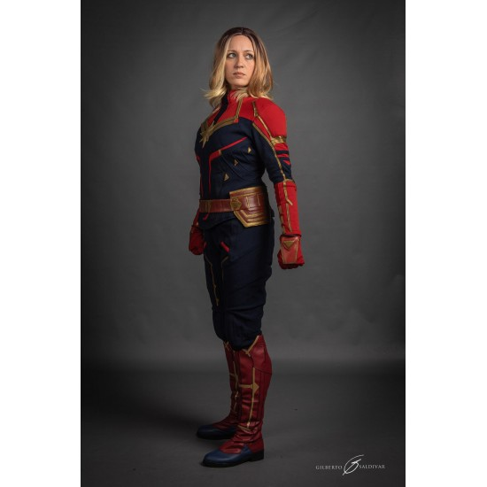 Carol Danvers Captain Marvel Costume Suit Textured Stretch Fabric Brie larson is seen as carol danvers, aka captain marvel. carol danvers captain marvel costume suit textured stretch fabric