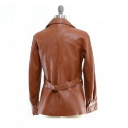 Women Brown Six Pockets Leather Coat