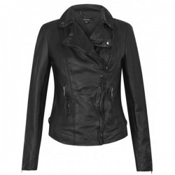 Women's Classic Biker Black Leather Jacket