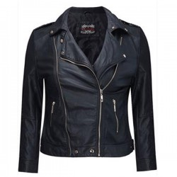 Women's Classic Motorcycle Black Leather Jacket