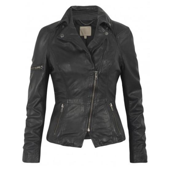 Women Classic Motorcycle Black Leather Jacket