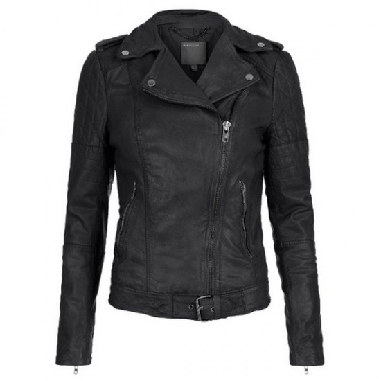 Fashionable Quilted Shoulders Black Leather Jacket