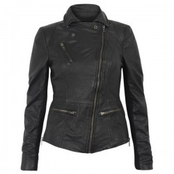 Women Stylish Collar Black Leather Jacket